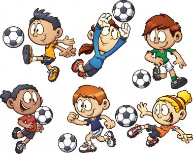 Cartoon kids playing soccer. Vector clip art illustration with simple gradients. Each element on a separate layer. stock vector