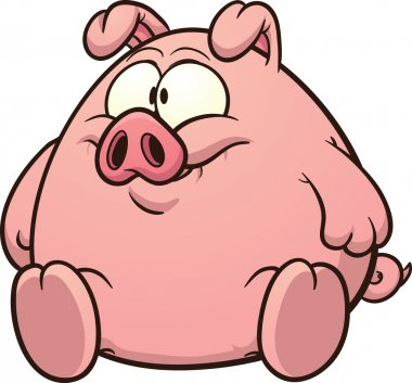 Cartoon fat pig