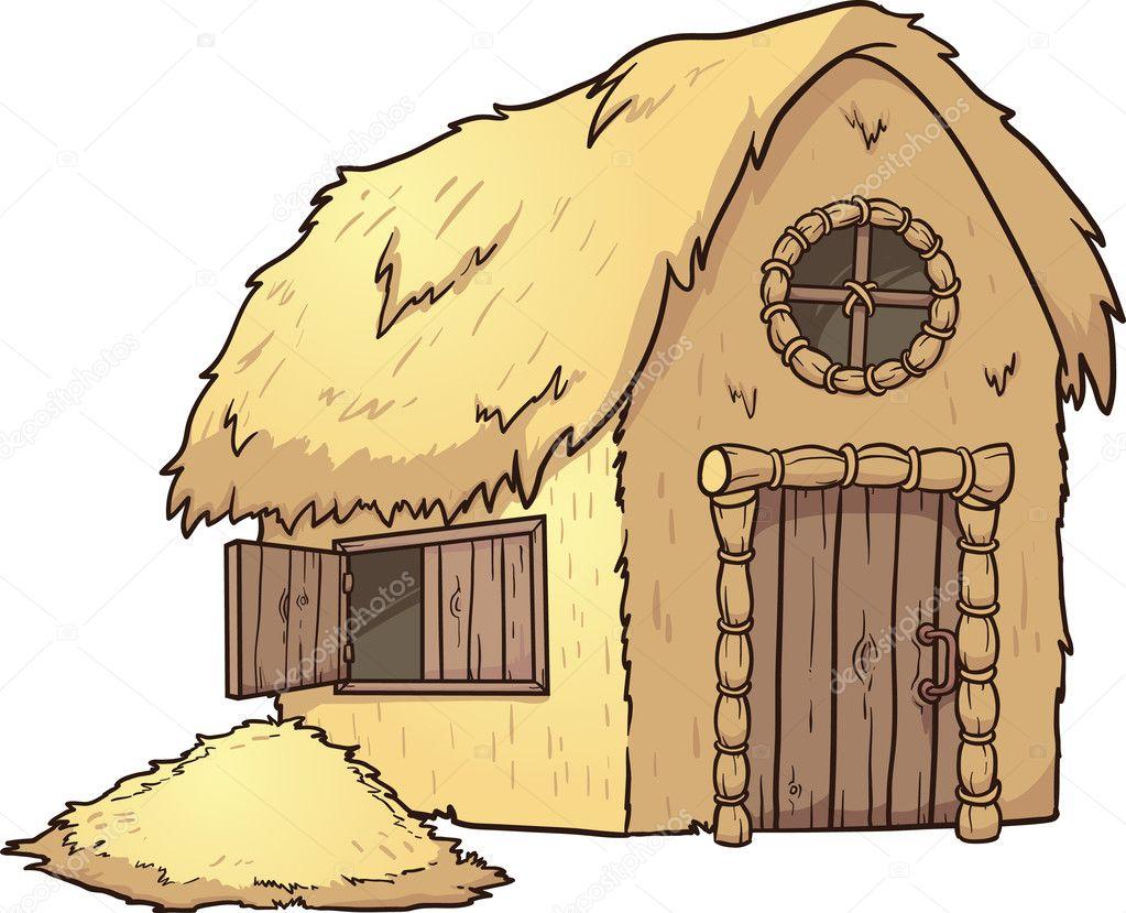 Maison de paille de dessin animé vector clip art illustration avec des gradients simples monticule de maison et de foin paille sur des calques séparés