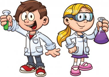 Scientist kids. Vector clip art illustration with simple gradients. Each on a separate layer. stock vector