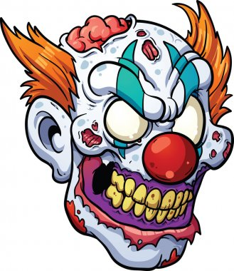 Zombie clown head
