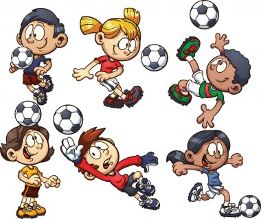 Cartoon soccer kids. Vector clip art illustration with simple gradients. Each on a separate layer. stock vector