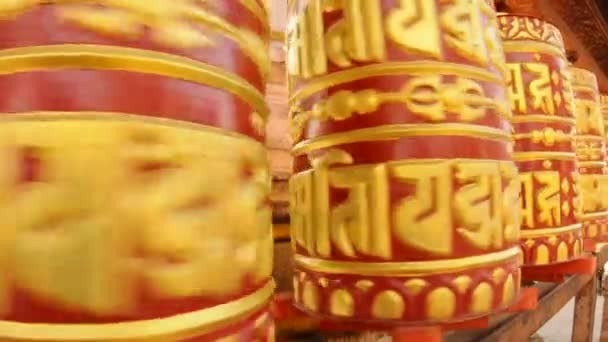Buddhist prayer wheel rotates - sacred mantra om