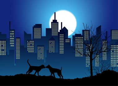 Vector couple dogs and city landscape