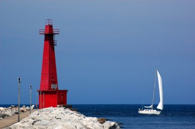Lighthouse and sailboat, Muskegon, MI