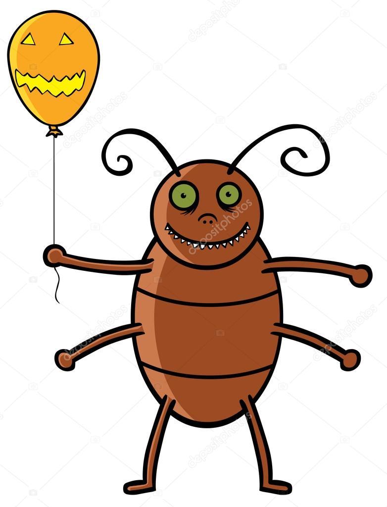 Cockroach holding Halloween balloon