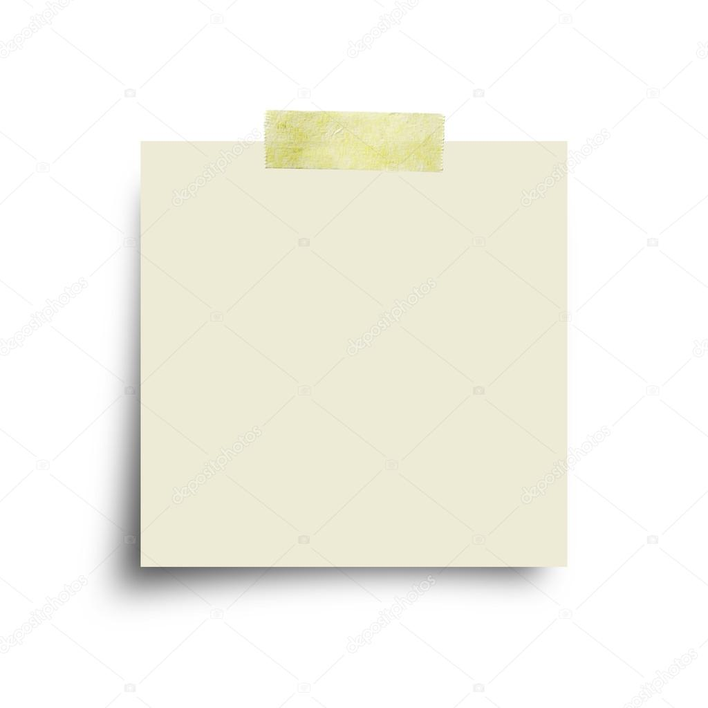 paper note with sticky tape isolated on white