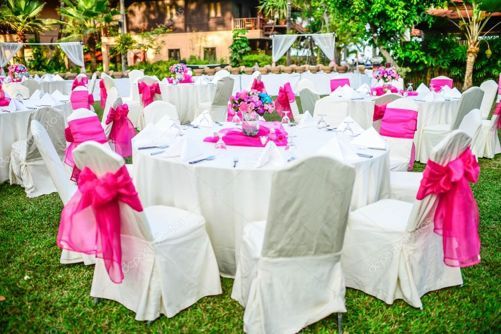 Romantic Set Up Dinner Table For Wedding Stock Photo 37815583
