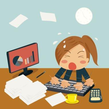 Businesswoman is Speedy Typing In Office on Desk among huge pile