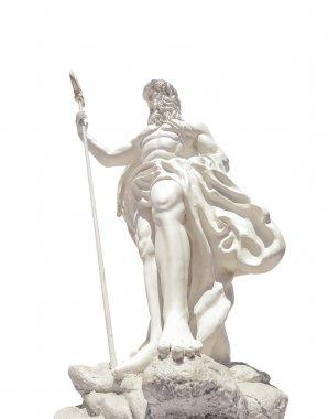 The statue of Poseidonon on isolated white background at venezia