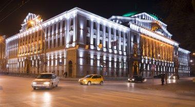 Building the Bank of Russia lit decorative illumination