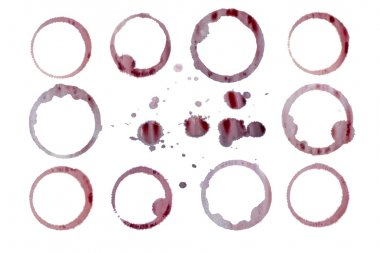 Isolated red wine stains, droplets with separate clipping paths