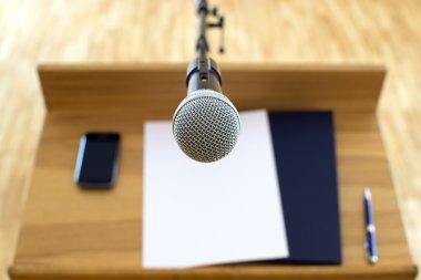 Microphone at the speech podium