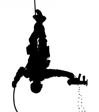 SWAT team soldier shooting while rappelling upside down vector silhouette. Fully editable