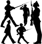 Soldaten marschieren und Wache Vektor Silhouetten. Geschichteten. Vollständig editierbar.