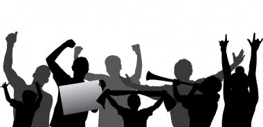Cheering crowd or sports fans vector silhouettes. Layered - every figure is on a separate layer. Fully editable.