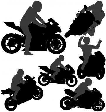 Motorcycle rider silhouettes set