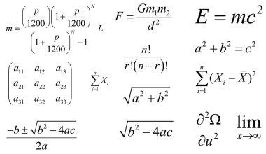 Mathematics and physics vector formulas. Layered. Editable
