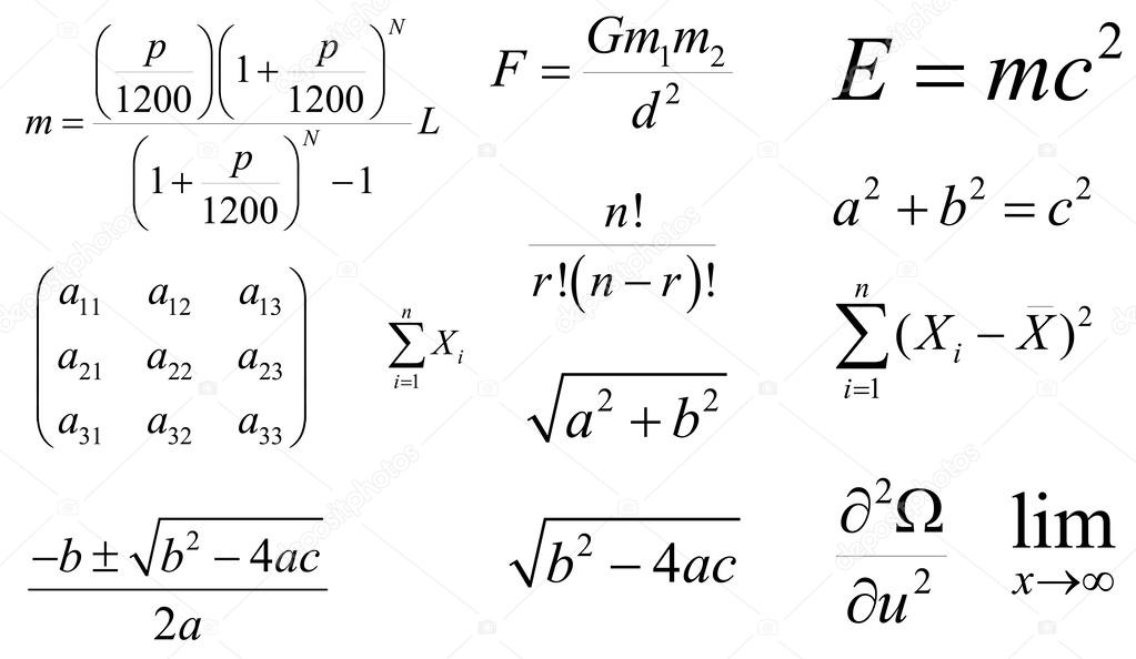 Well-known Mathematics and physics vector formulas. Layered. Editable — Stock  LI36