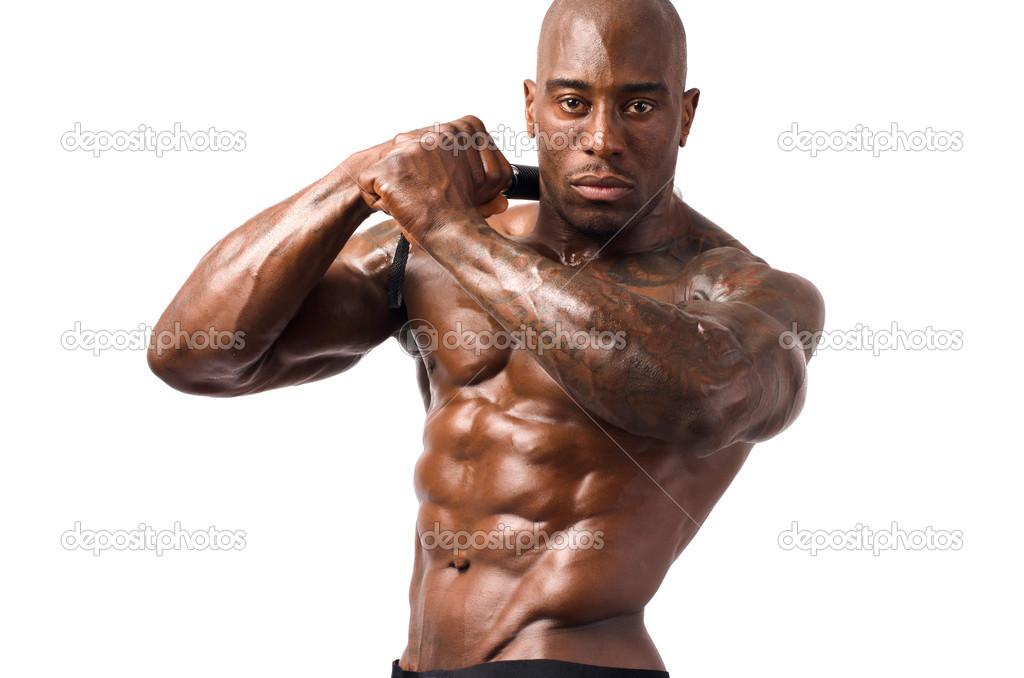 hombre fuerte culturista con abs perfecto, hombros, bíceps, tríceps ...