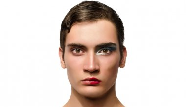 Man wearing make up, Portrait of a drag queen, half face with make-up, half woman half man