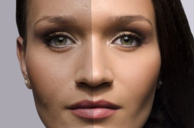 Comparison of a beautiful woman before and after retouching with photoshop, aging versus young, beauty treatment stock vector