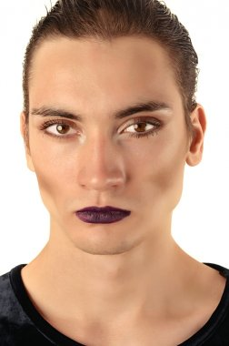 Man wearing make up, Portrait of a drag queen, half woman half man