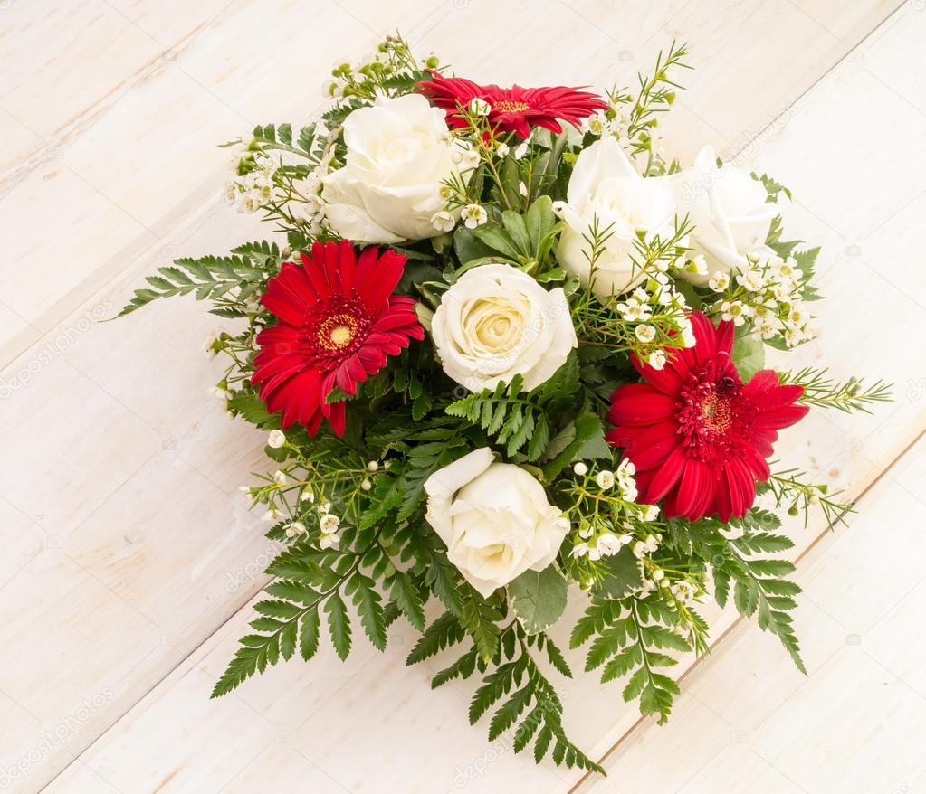 Red And White Flower Arrangement Stock Photo Dogfordstudios