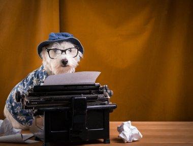 Journalist Dog at the Typewriter