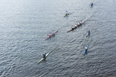 Rowers accompanying the Olympic torch