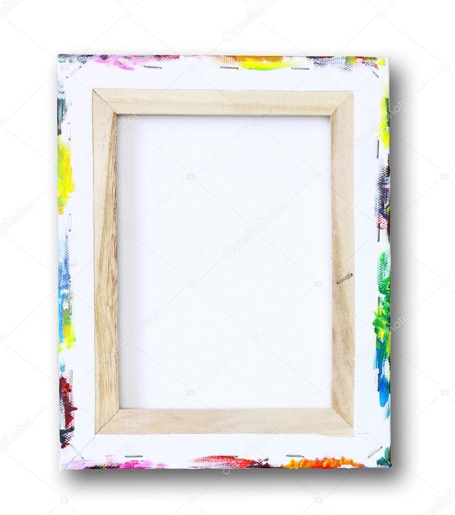 lona en una camilla, pintura acrílica sobre borde aislado en blanco ...