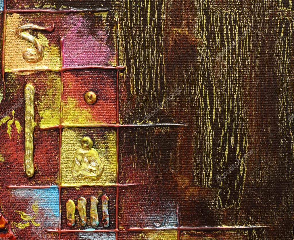 Assez original peinture abstraite Acrylique technique mixte sur toile  WJ93