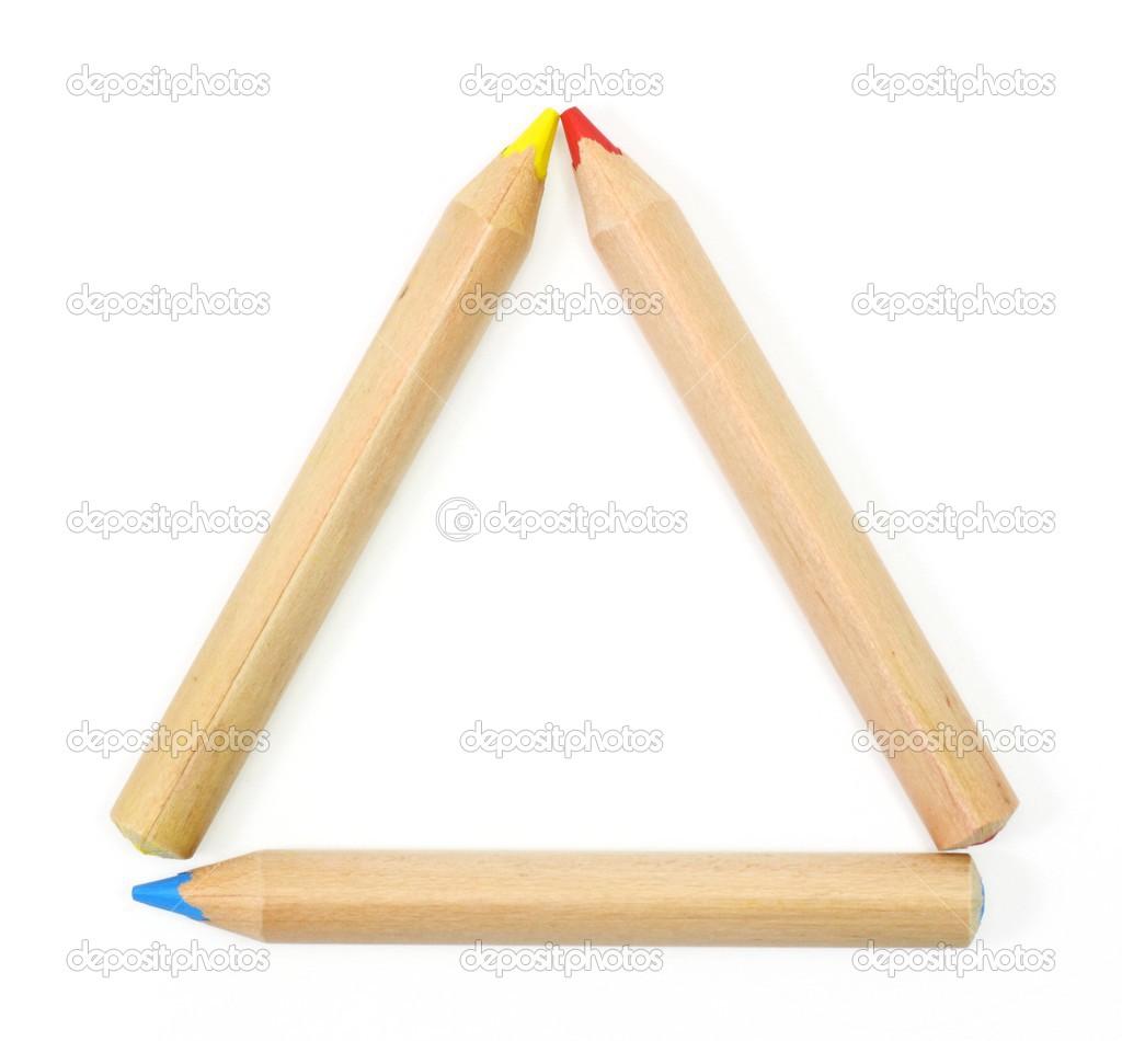 lápices de colores establecer un marco de triángulo en blanco — Foto ...