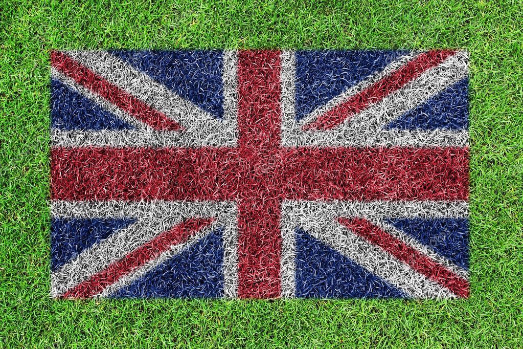 Ingiliz Bayrağı Olarak Yeşil çim Zemin üzerine Boyama Stok Foto