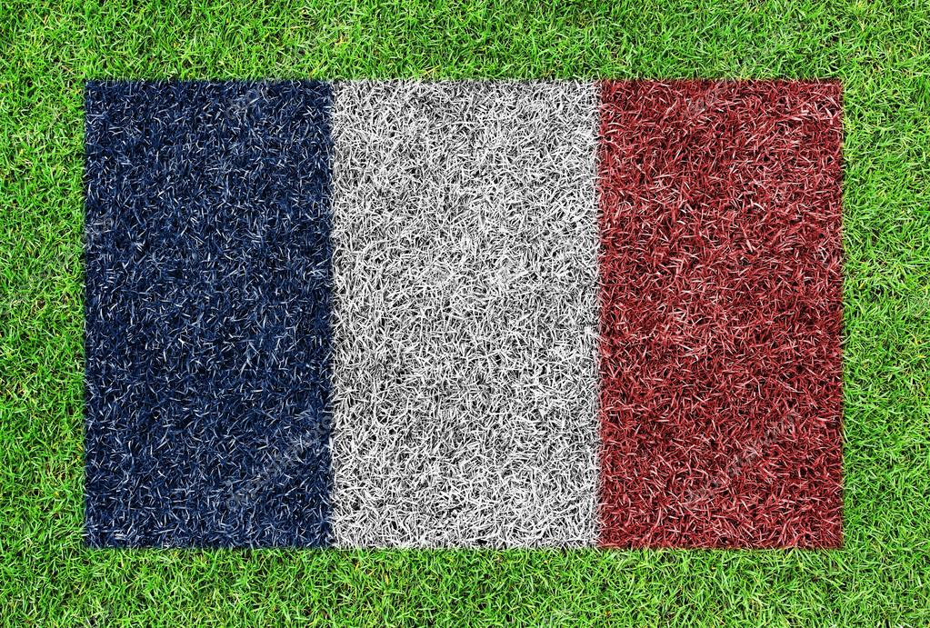 A flag of france as painting on green grass background