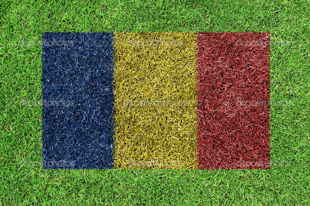 Flag of Romania as a painting on green grass
