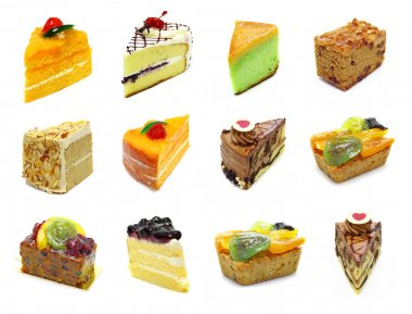 Collection of slices cake
