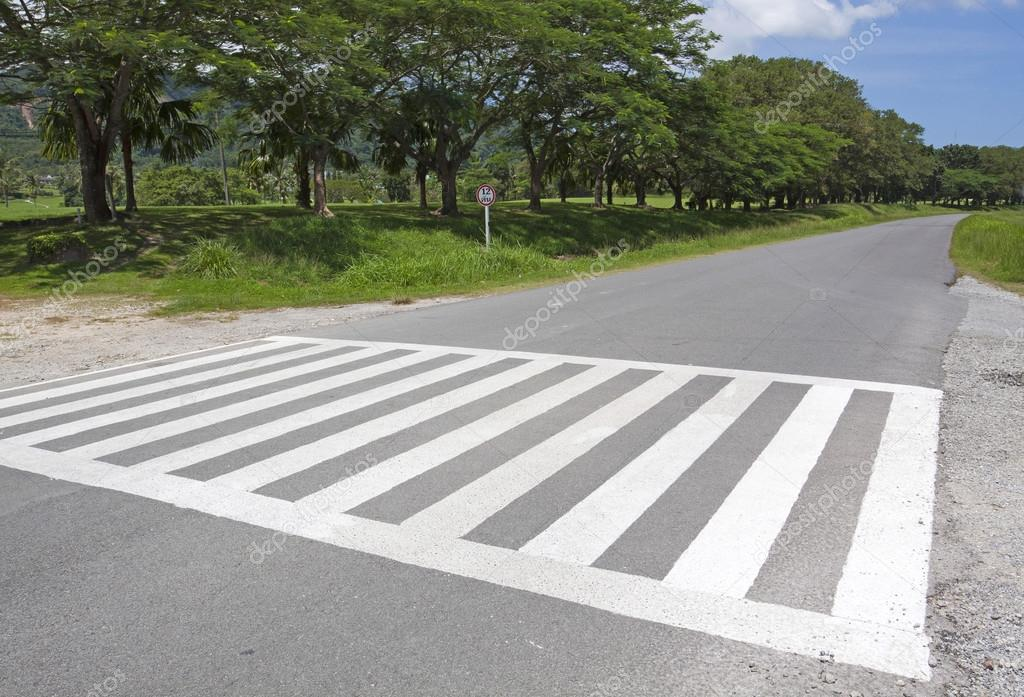 Zebra traffic walk way, cross way with blue sky
