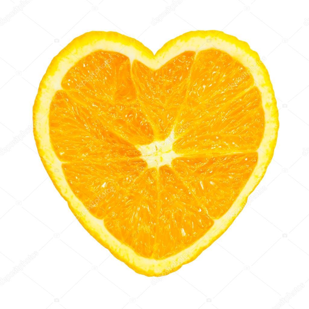 Slice of fresh orange heart shaped isolated on white background