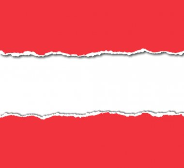 Red torn paper with white copyspace