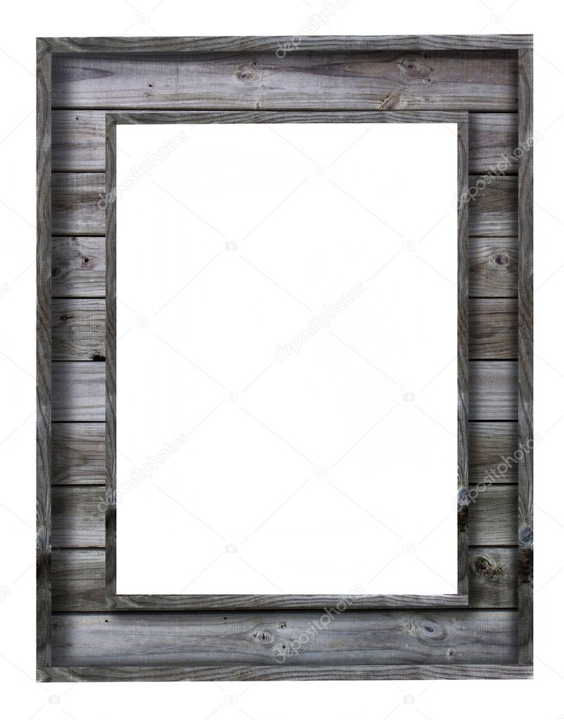Vintage wood picture frame on white background