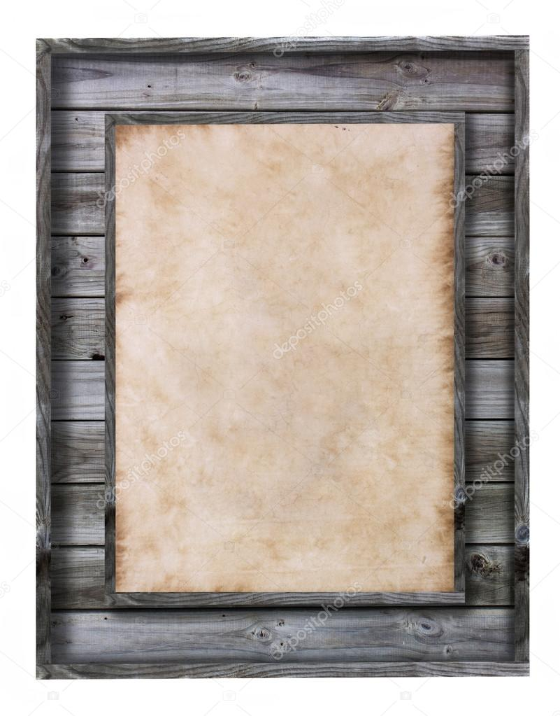 Vintage wood frame with paper fill isolated on white