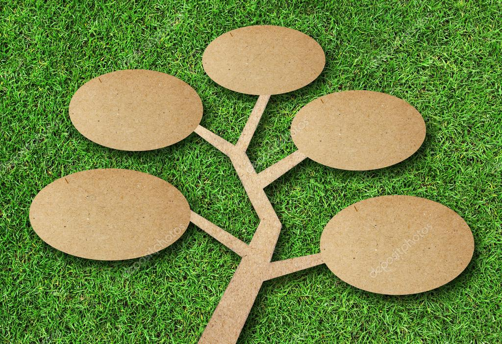 tree recycle paper craft on grass background