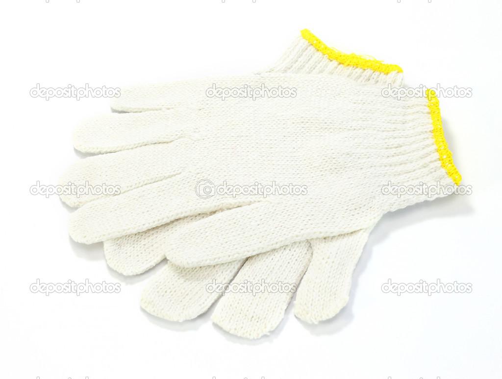 weiße Stoff-Handschuhe isoliert auf weißem Hintergrund — Stockfoto ...