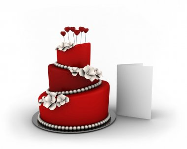 Red cake on three floors with white flowers and red hearts isolated on white background