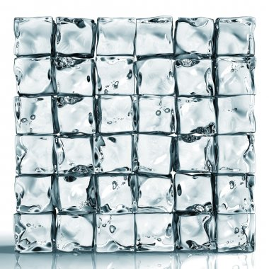 Wall of ice cube bricks