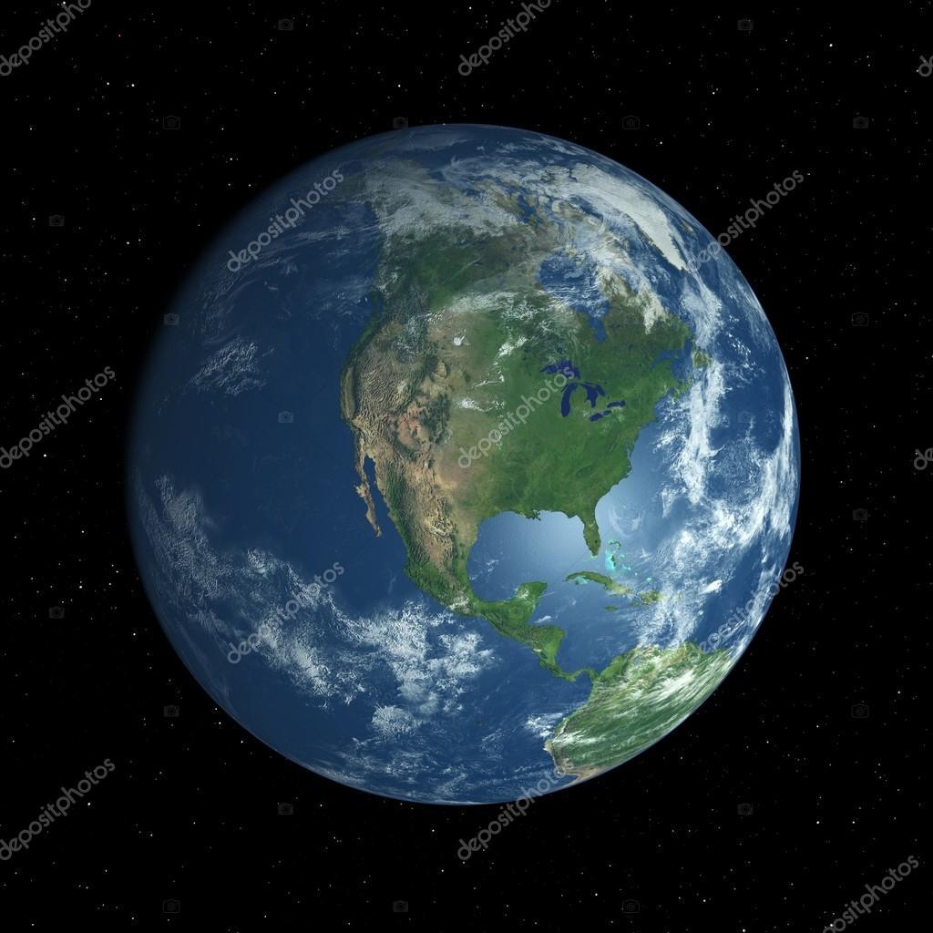 Earth globe facing North America