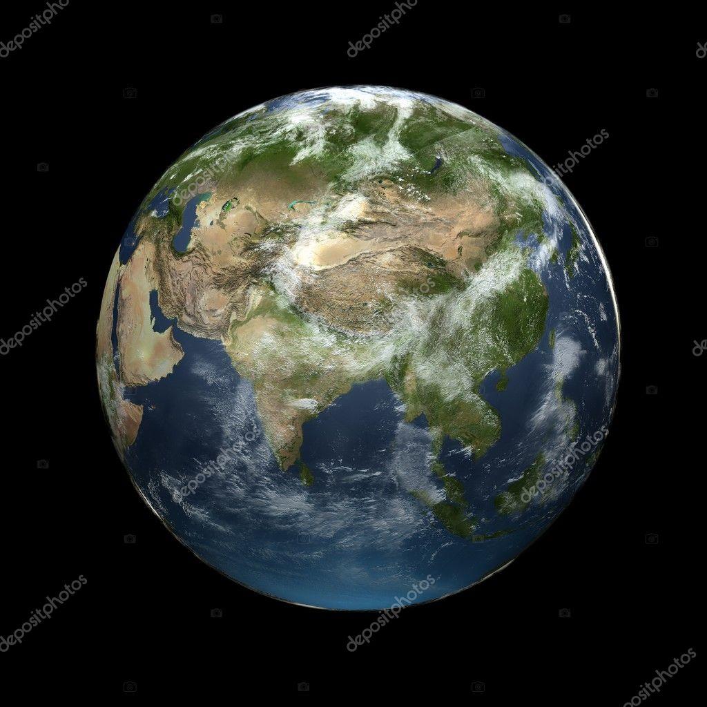 Earth globe facing Asia