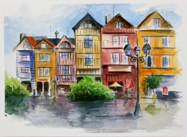 Watercolor in town