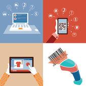 Photo Online market and qr code